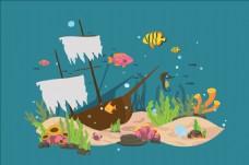 海底世界里的海盜船插圖