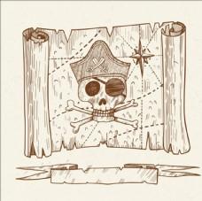 手绘海盗藏宝图背景