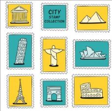 手绘城市邮票