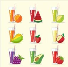 一组新鲜的果汁