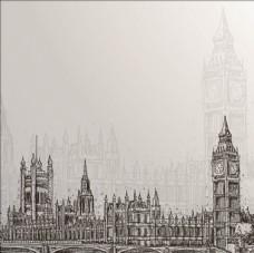手绘议会建筑群