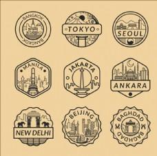 不同城市的邮戳