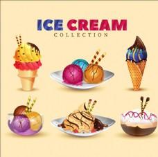 美味的甜点和冰淇淋
