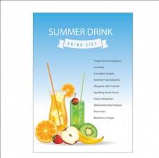 夏季水果饮料菜单