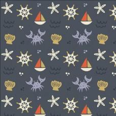可爱的螃蟹帆船图案