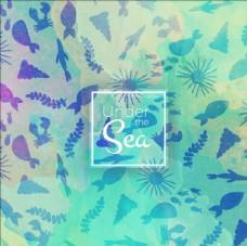 水彩可爱的海洋生物背景