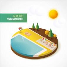 等距立体夏天的游泳池