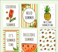 水彩效果夏季卡片