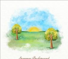 水彩夏季山谷插图
