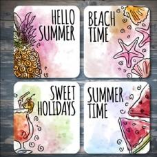 四款水彩夏日卡片