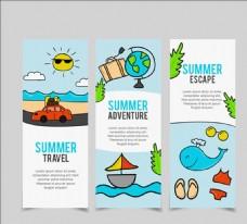 三款手绘夏季旅行海报