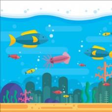 平面夏季海洋动物背景