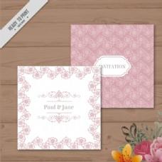 粉色花环卡片