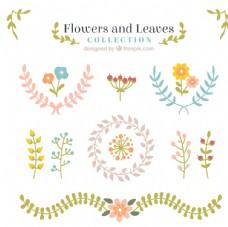 可爱的花和叶饰品