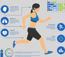 跑步的女人免抠png透明图层素材