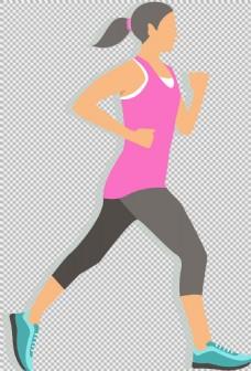 手绘女性跑步者免抠png透明图层素材