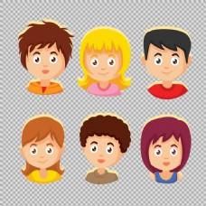 各种发型的小孩头像免抠png透明图层素材
