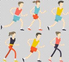 彩色跑步者插画免抠png透明图层素材