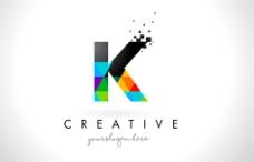 彩色三角形字母K标志图片