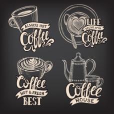 手绘咖啡商标