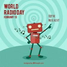 世界无线电日背景与机器人跳舞