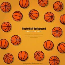 背景手绘篮球