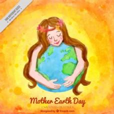 可爱的水彩背景的女人拥抱地球