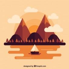 景观背景与船在日落的平面设计