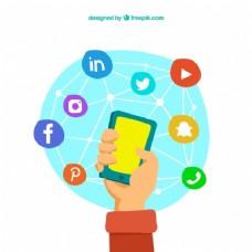 手绘背景与手机周围的社会网络图标