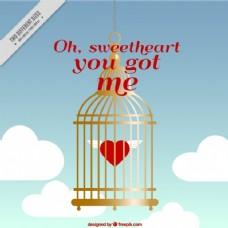 情人的背景与心在一个金色的笼子里
