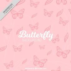粉色蝴蝶画背景