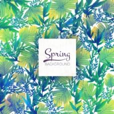 春天背景与漂亮的水彩树叶