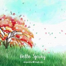 美丽的树木和春风