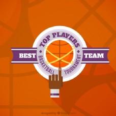 橙色篮球背景紫色细节