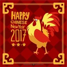 有金框和公鸡的手绘中国新年背景