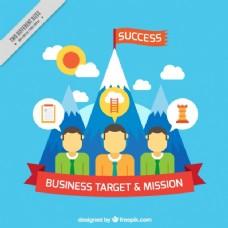 商业背景与山和成功的旗帜插图