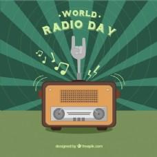 阳光世界无线电日背景绿色细节
