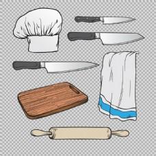 手绘厨房用品厨具免抠png透明图层素材