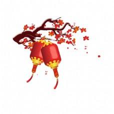手绘灯笼红梅元素
