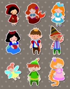 女生通话儿童卡通贴纸标签矢量