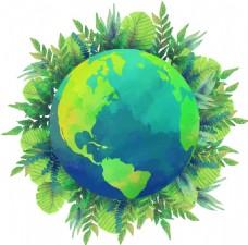 手绘绿色地球元素