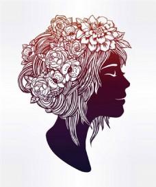 头戴花朵的女孩图片