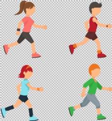 卡通风格跑步者免抠png透明图层素材