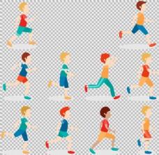彩色卡通跑步者免抠png透明图层素材
