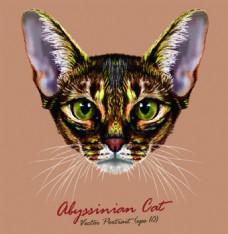 豹猫宠物猫头像品种矢量