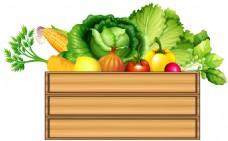 木盒里的蔬菜