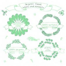 绿色水彩手绘有机植物自然花环矢量