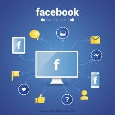 脸谱网壁纸与平面设计图标