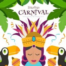 狂欢节的背景与女人和巨嘴鸟