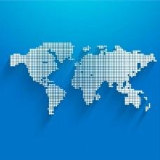 在蓝色背景下用圆点绘制地图